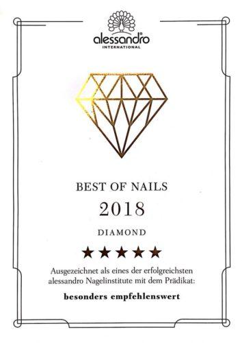Auszeichnung - Beste Nagelinstitute 2018 alessandro in BadenBaden