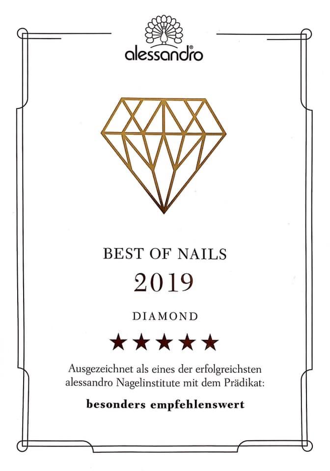 Auszeichnung - Beste Nagelinstitute 2019 - Alessandro BadenBaden