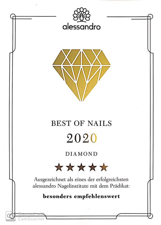 Auszeichnung - Beste Nagelinstitute 2020 - Alessandro BadenBaden
