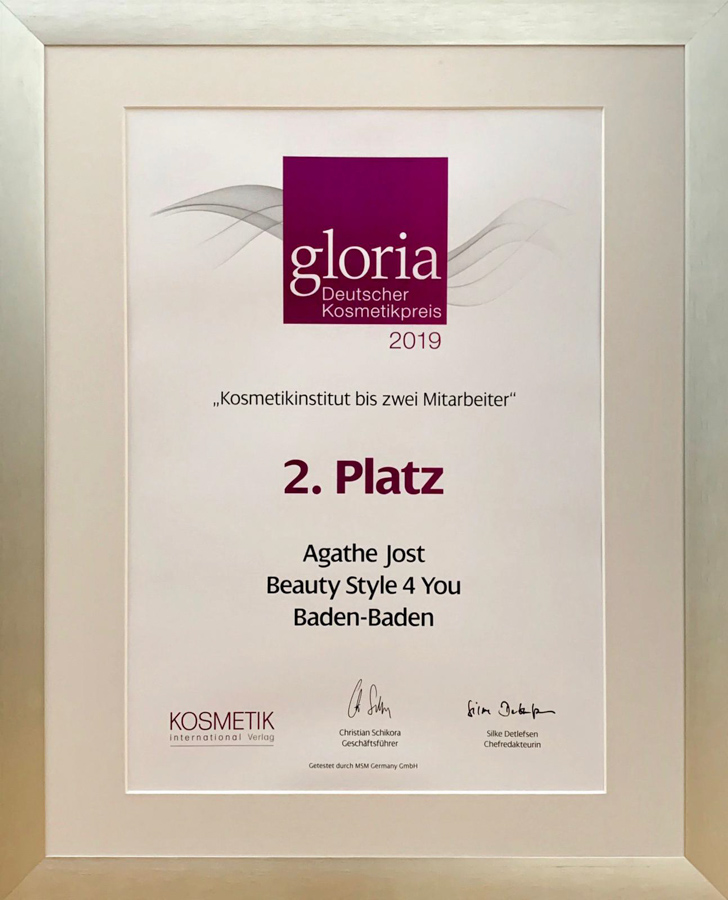 gloria-award 2019-kosmetikstudio-wiesbaden-Urkunde